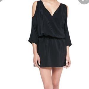 Amanda uprichard cold shoulder black silk dress
